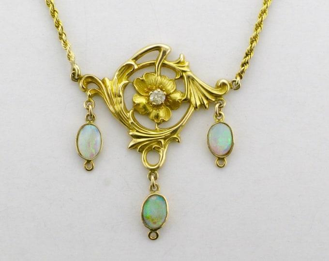 Art Nouveau Necklace; Art Nouveau Opal Necklace; Yellow Gold Necklace; Yellow Gold Opal Necklace; Diamond Art Nouveau Necklace