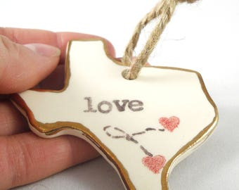 custom long distance relationship gift for girlfriend gift for boyfriend college student family far from home i love Texas state ornament