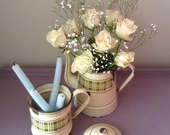 French, Vintage, Enamel, Biggin, Coffee Pot, Rustic, Kitchenalia, Display, Prop