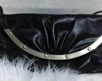 Black Studded faux leather handbag black purse povket book