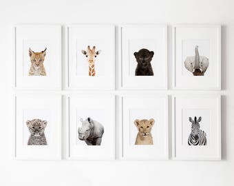 Set of 8 Safari nursery prints, Nursery decor,  Safari Nursery Printable, Safari animals decor, Baby animals, Nursery art Nursery