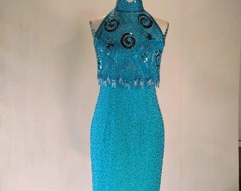 Aqua Swirly Sequin Beaded Wiggle Dress Glam Fringe