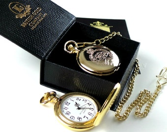 The Royal Tank Regiment 24k Gold Plated Pocket Watch in Luxury box with Certificate Full Hunter  with chain Army Military Gift RTR