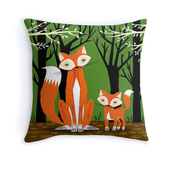 Two Fine Foxes - throw pillow / cushion cover including insert by Oliver Lake - iOTA iLLUSTRATION