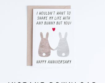 Printable Anniversary Cards, Anniversary Digital Cards, Happy Anniversary Bunnies Illustration, Bunny Anniversary Cards Instant Download