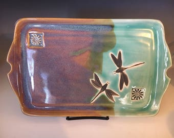 Pottery Serving Platter, Handmade Pottery Tray, Dragonfly Stoneware Tray, Appetizer Tray, Wedding Gift, Gift for Her.