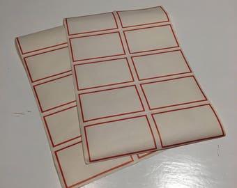 Vintage 2 sheets of red gummed labels