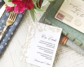 Wedding Agenda Card, Printable Wedding Timeline Letter, Events Card, Regatta, Itinerary, Agenda, Hotel Card - INSTANT DOWNLOAD