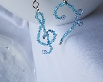 Musical Mismatch Earrings - Treble and Bass Clef, Asymmetric, Blue Beads, Music Nerd Series, Opus 44