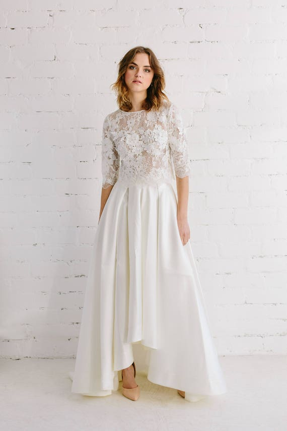 Bridal lace top wedding separates floral lace toper off bridal lace top wedding separates floral lace toper off white lace top 34 long sleeves top wedding lace cover up boho bride amber junglespirit Image collections