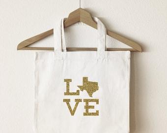 Love Texas tote bag/custom tote/market bag/canvas shopping bag/ state tote/ market tote/ reuseable bag/ Texas state bag/ gold glitter