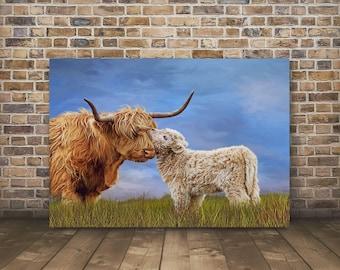 Highland Cow Print,Highland Cow,Highland Cow Art,Highland Cattle,Highland Calf,Cow Gift, Cow,Highland Cow Canvas-Sells UK/USA and Australia