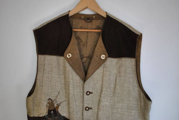 MEN'S canvas HANDMADE vest 098 and LEATHER Vintage qIfw5AA