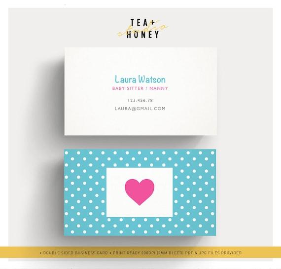 Babysitter Business Card Nanny Branding Premade cute design