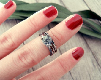 Raw diamond ring, Blue diamond ring, uncut diamond ring, raw stone engagement ring, promise ring, engagement ring, raw stone,something  blue
