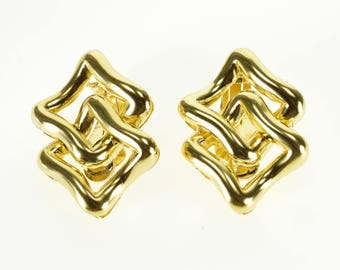 18k Curved Square Interlocking Clip Back Martine Earrings Gold