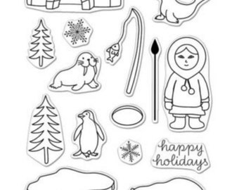 SALE Hero Arts Stamps: Warm Hugs CL989 Christmas Stamps, Holiday Stamps, Clear Stamps, Paper Crafting, Card Making