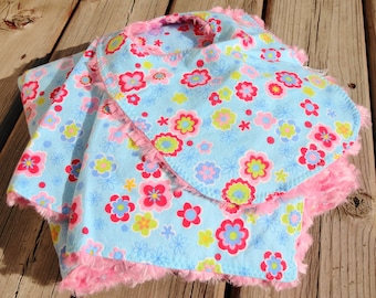 Baby Gift Set: Baby Blanket, Burp Cloth, Baby Bib - Flower Garden