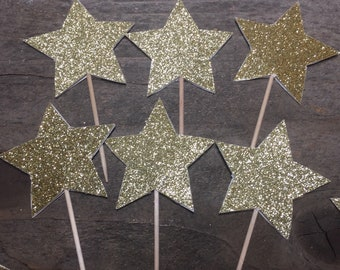 Star Cupcake Picks Gold Stars Gold Glitter Cupcake Decorations Cupcake Toppers Stars on Both Sides 4th of July Party Decoration Birthday Fun