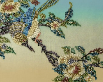 """Tranquility Textured Bead Embroidery Panel 5""""x7"""" designed by Ann Benson"""