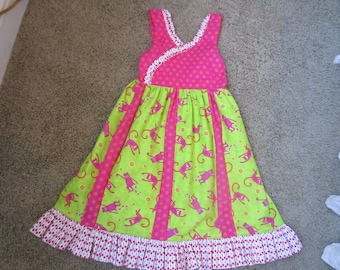 HANDMADE SUMMER DRESS Size Five Ruffled Ankle Length Monkeys All Over Ready To Ship