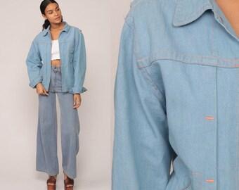 Denim Jacket 70s Jean Jacket Boho Blue Hippie Trucker Vintage Bohemian 1970s Hipster Zip Up Small