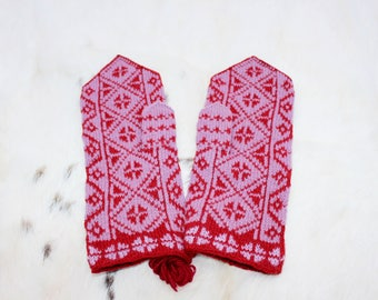 Large wool mittens Vintage wool mittens UNUSED Handknit wool mittens Pure wool mittens Knit mittens Warm woolen mittens