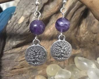 Tree of life amethyst crystal earrings