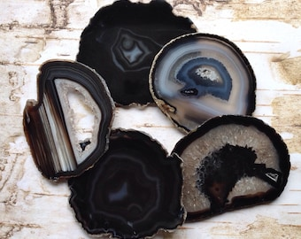 Coasters Amazing Agate Coaster Agate Coasters Set 2-10 Agates Coaster Geode Coasters -Gold,Silver,Natural Edge/Black Brown Green Blue Purple