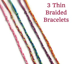 3 Thin Braided Bracelets, Friendship Bracelets, String Bracelets, Ultra Thin Thread, Thread Bracelets, Bulk Bracelets, Woven, Braid