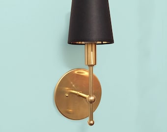 Brass wall sconce • Maude • Hollywood regency • midcentury modern • solid brass • wall sconce