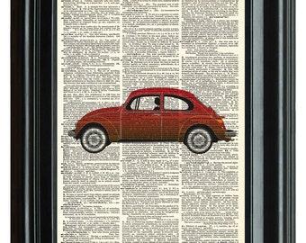 Volkswagon Bug Vintage Print, VINTAGE DICTIONARY PRINT, dictionary page, Upcycled dictionary art print, transportation 8.25x11.25 num. 21
