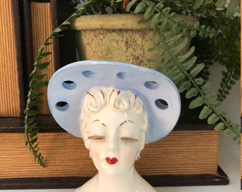 Vintage Irice Lady Head Vase/Headvase/Lady Planter/Glamour Girl/Blue Hat