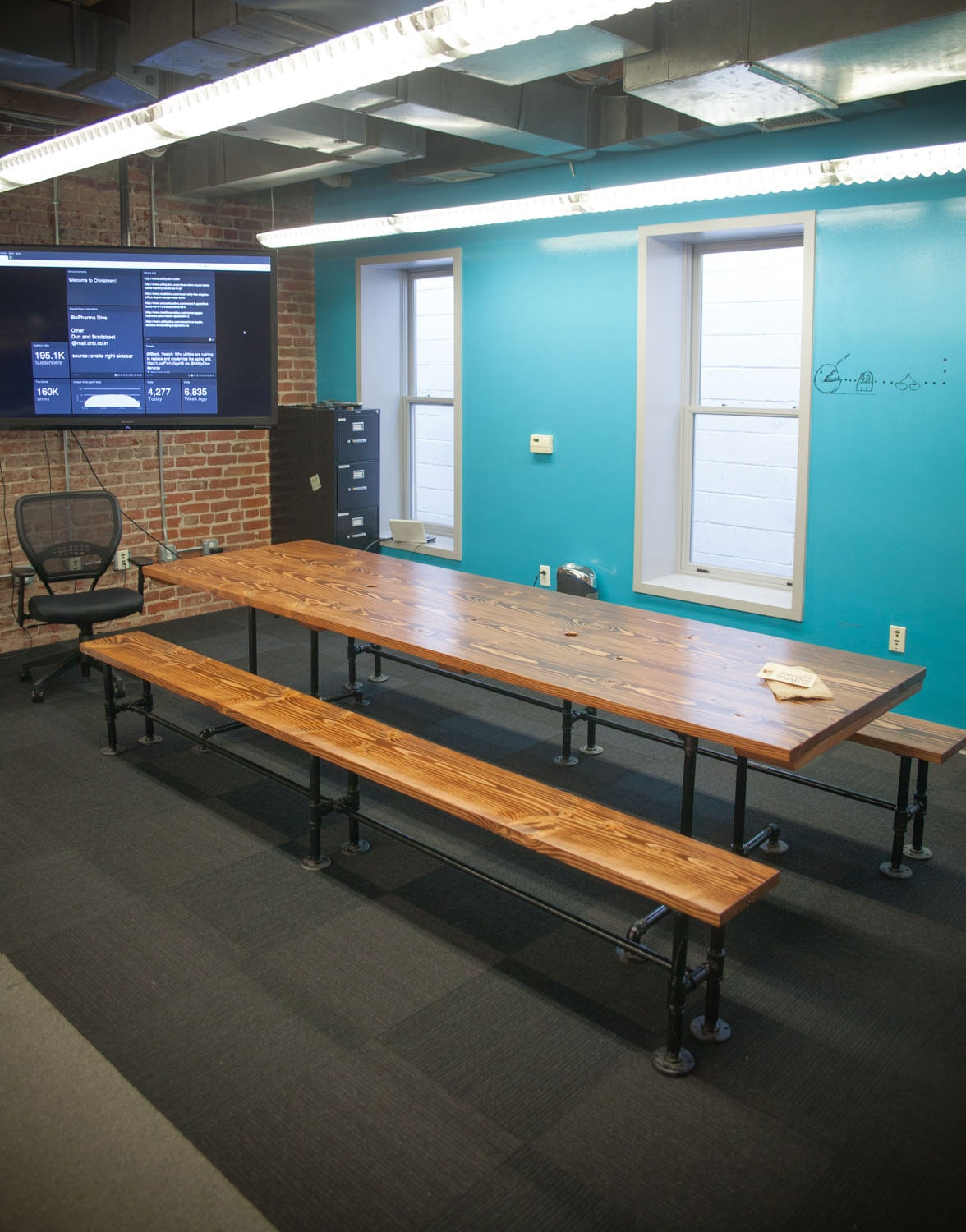Counter Height Industrial Conference Table Solid Wood