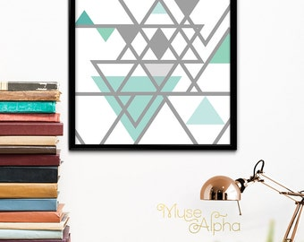 Mint Triangle Geometric Print, Mint Printable, Mint Home Decor, Mint and Grey, Gray and Mint, Triangle Wall Art, Triangle Printable Art Wall