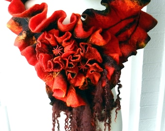 Wool felted woman ART scarf ,shawl-FLAME -