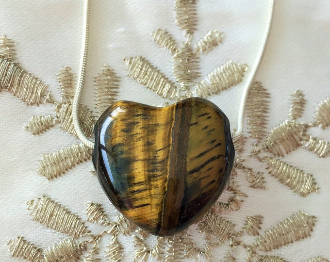 Tiger Eye HEART Necklace infused w/ Reiki / Healing Jewelry
