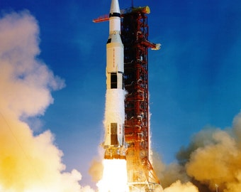 Lift-off of the Apollo 11 Saturn V From Launch Complex 39A - 5X7, 8X10 or 11X14 NASA Photo (BB-034)