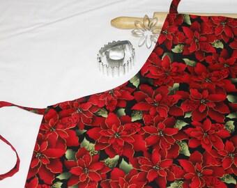 Red Poinsettias Adult Apron