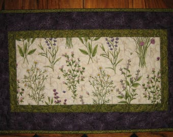 """Botanical Quilted Table Runner, Herbs Lavender Mint Chives, 16 x 26"""" Table Mat, Purple Green Runner, Reversible"""