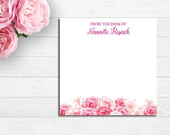 Pink Peony personalized note pad, From the desk of Personalized Note Pad, Square Memo Pad, Custom Notepads, Personalized Gifts, Stationery