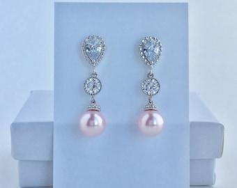 Pink Pearl Bridal Earrings Blush Pink Pearl Cubic Zirconia Earrings Pink Swarovski Pearl Crystal Earrings Pink Bridesmaid Pearl Jewelry