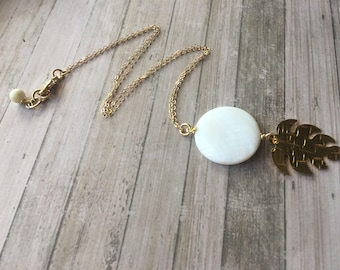 Nacre pendant necklace. Mother of Pearl necklace. Gold filled necklace. Charm necklace.