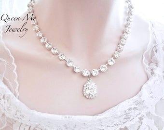Crystal wedding necklace Swarovski crystal necklace Brides necklace Statement necklace For a bride, Wedding Bridal necklace Jewelry SOPHIA