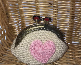 Cream/pink Crochet coin purse