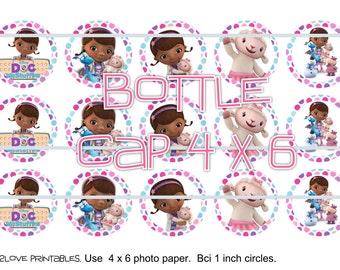 "Doc Mcstuffins polka 4x6 - 1"" circles, bottle cap images, stickers"