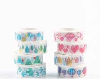 Washi tape, WATERCOLOR washi tape, Japanese Washi Masking Tapes great for packaging, scrapbooking, invitation making, party decoration
