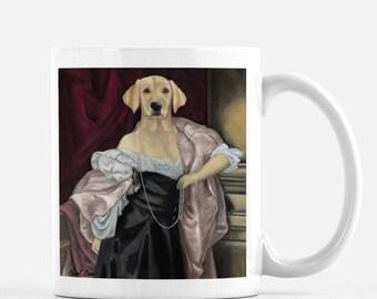 "Cute Animal Gift Mug, Tea Mug Dog Gift, Funny Dog Coffee Mug, ""Lab in a Black Dress"""
