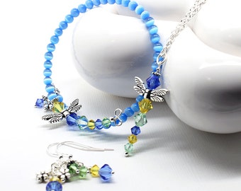 Dragonfly Jewelry Set - Bright Blue Cats Eye Bracelet, Citrine Sapphire Peridot Crystal Dangle Earrings, Pendant Necklace, 3 Piece Set