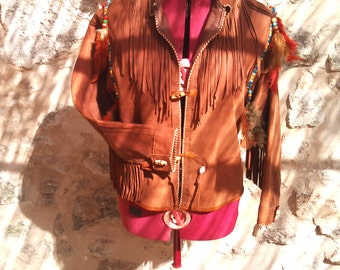 jacket style Native American country fringe and feather